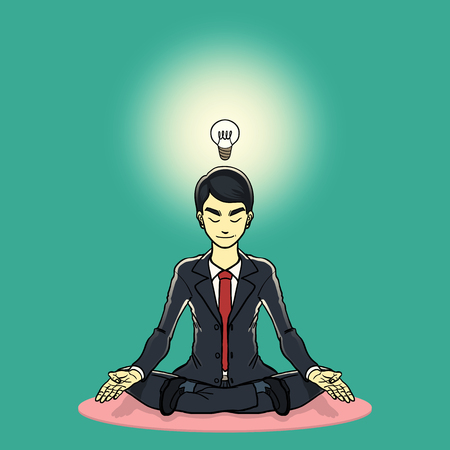cross legged: a businessman meditation and get the new idea background