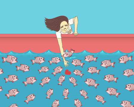 a woman stretch out ones hand in the river have piranhas for find her heart