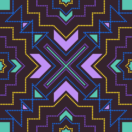 An abstract three colors dot lines geometric style pattern on dark purple.