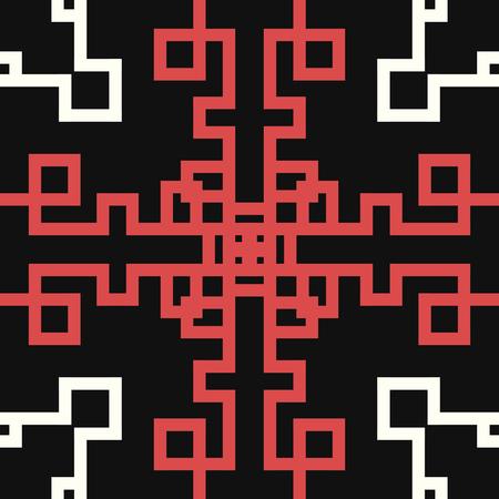 moderne rode en witte chinese patroonstijl op zwart Stock Illustratie