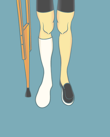 plaster cast leg and crutch background
