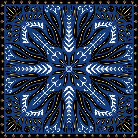 elegant modern classic flora pattern on blue Illustration