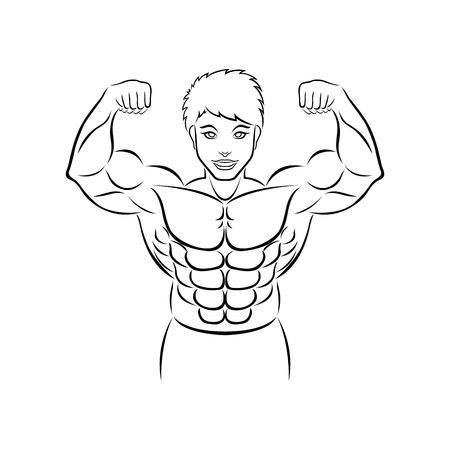the bodybuilder out line logo Banco de Imagens - 80793048