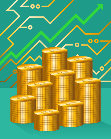 Golden bitcoin pile and growing up graph Vector Illustration
