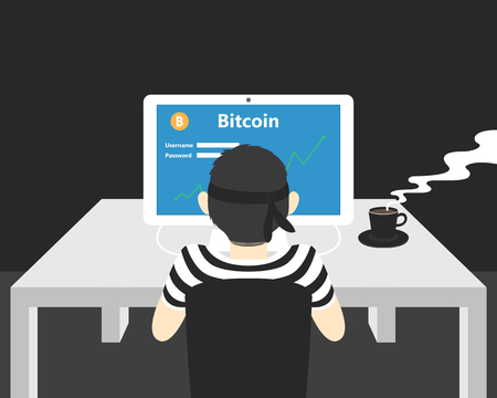 Hacker hacking bitcoin online system