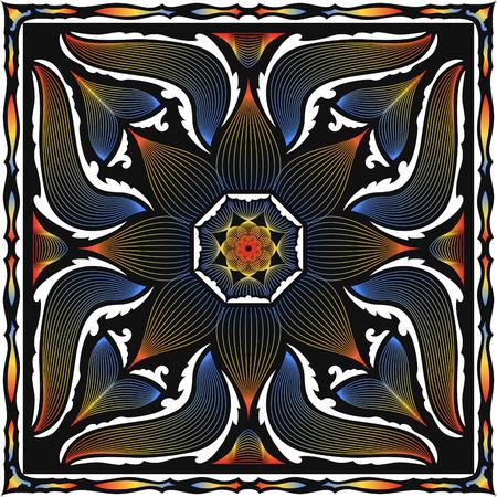 abstract modern lotus flower lines pattern on black Illustration