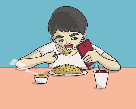 食べて、スマート フォンで遊ぶ少年