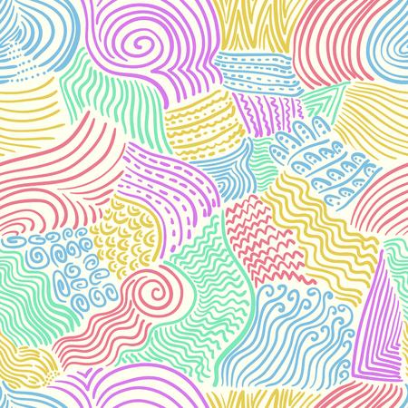 abstracte doodle kleurrijke lijnen naadloze patroon op crème