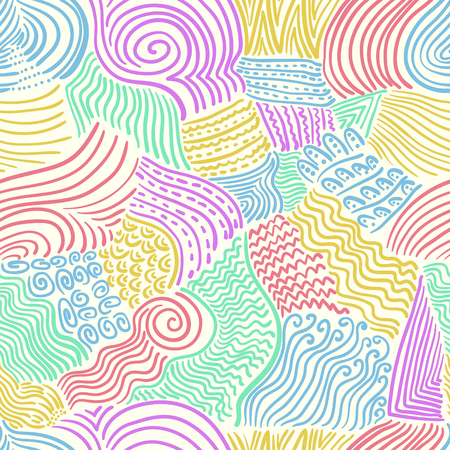 abstract doodle colorful lines seamless pattern on cream
