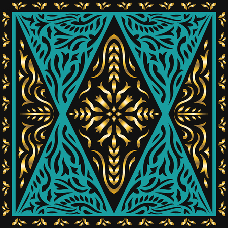 abstract modern classic black and golden elegant pattern on green Illustration