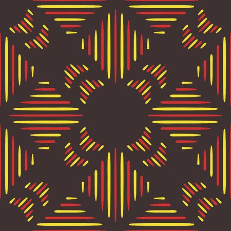 Abstract geel en rood volk naadloos patroon op bruin Stock Illustratie