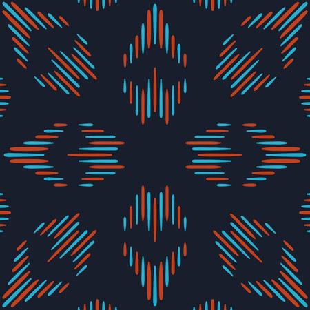 Abstracte blauwe en rode volks naadloze patroon op donkerblauw