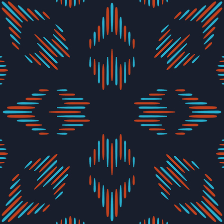 Abstract blue and red folk seamless pattern on dark blue