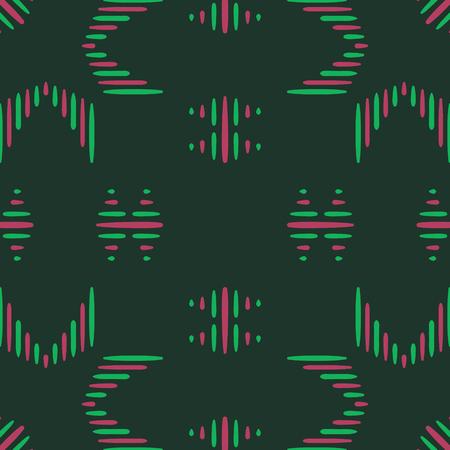 Abstracte roze en groene volks naadloze patroon op donkergroen Stock Illustratie