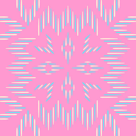 hankie: Abstract blue and cream folk seamless pattern on pink Illustration