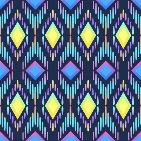 Abstract colourful geometric native seamless pattern on blue. Illustration