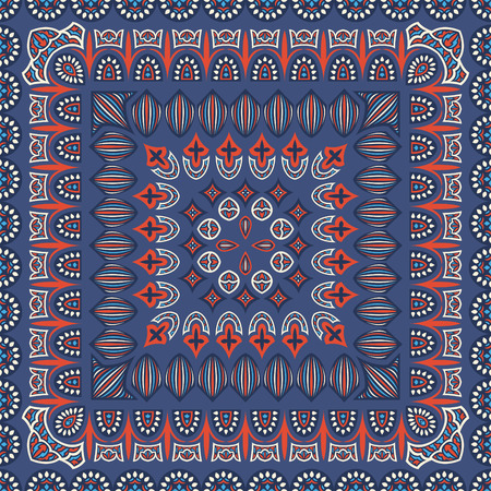 Abstract asian contemporary style pattern on blue  vector illustration.
