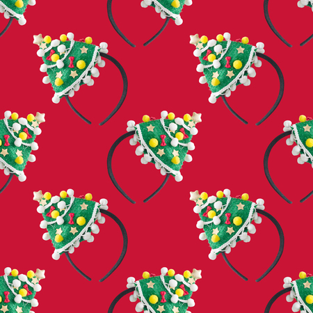 the christmas headband seamless pattern on red