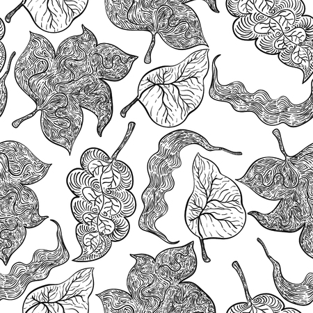 black and white leaves drawing outline seamless pattern