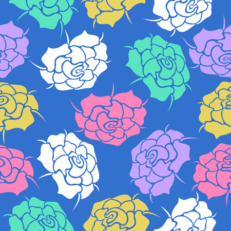 variety rose colors seamless pattern