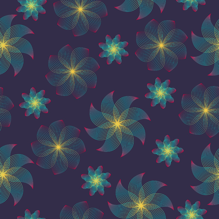 abstract variety flower lines seamless pattern on violet