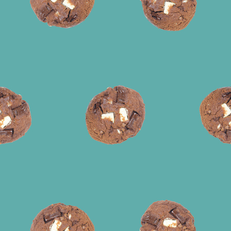 the soft muffin cookies seamless pattern on green