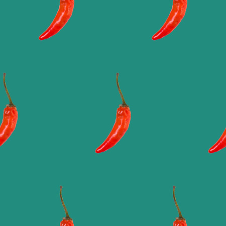 the red chili seamless pattern on green