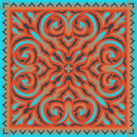 abstract contemporary blue and orange asian style pattern Illustration