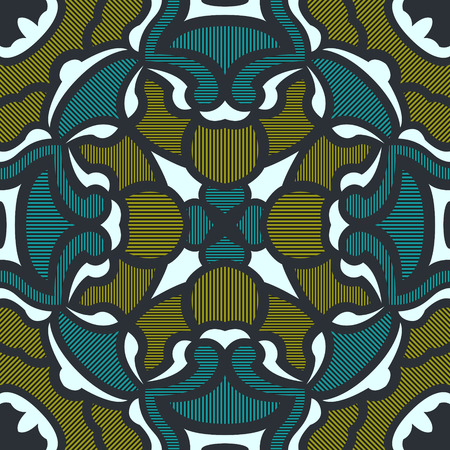 Abstract contemporary lines on green and yellow pattern