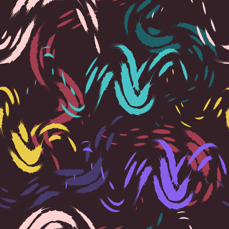 Abstract painting colors style seamless pattern on dark brown Illustration