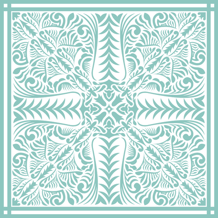 Abstract Asian green contemporary pattern on white. Illustration