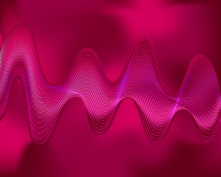 Curve network wave on pink tone background. Ilustrace