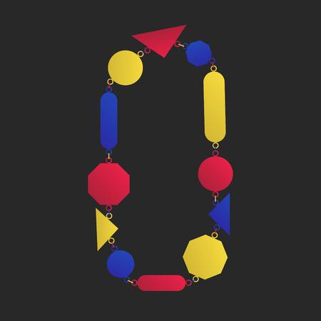 modern three colors geometric necklace ornament