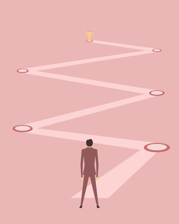 a businessman planning for goal Illustration