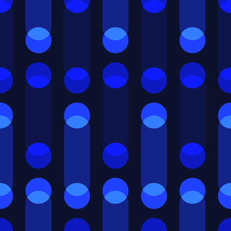 Blue circle and oval overlap seamless pattern