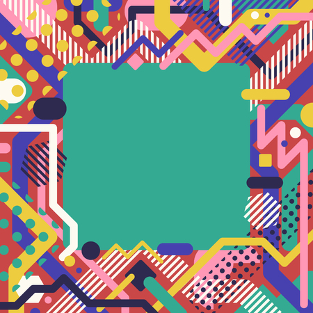Multicolor modern pop art geometric with empty green square frame background Illustration