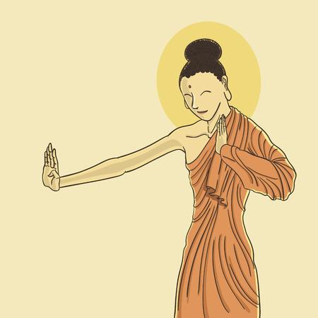 Buddha giving a blessing hand Çizim