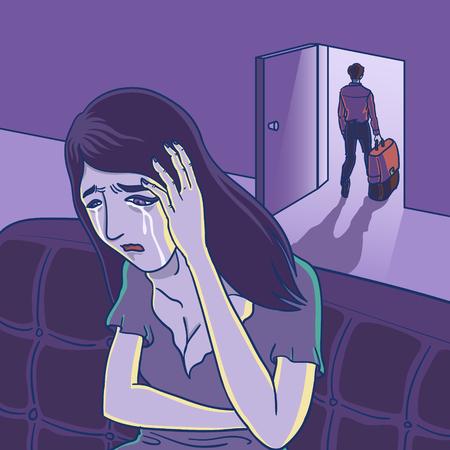 een man loopt weg van de achtergrond van zijn vriendin