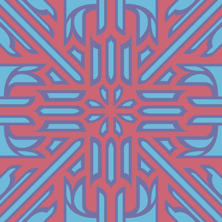 abstract contemporary blue and pink flora pattern Illustration