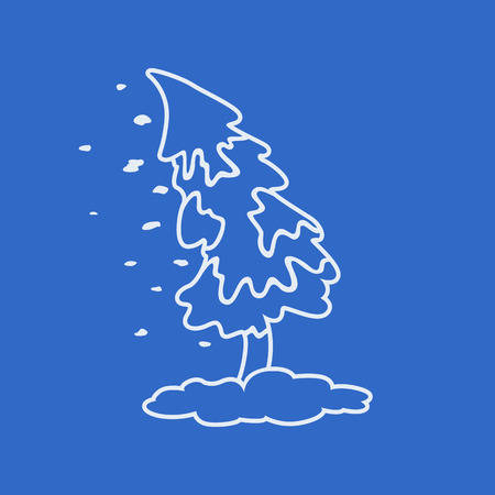 The snow on christmas tree out line logo
