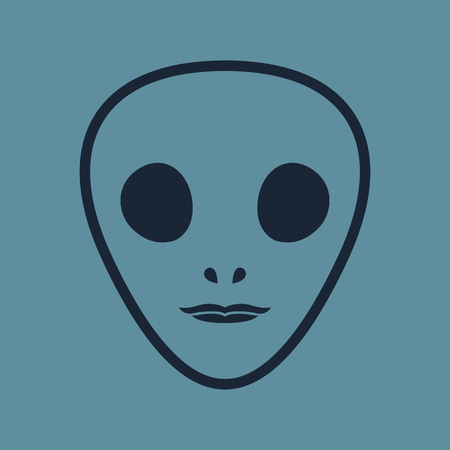 the alien face out line icon
