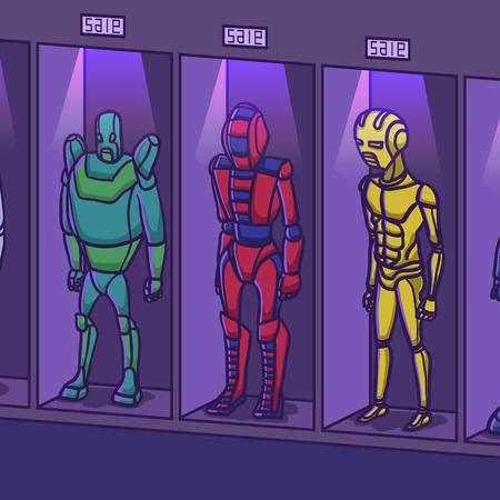 meerdere slaaf humanoïde robot winkel tentoongesteld, vector illustratie.