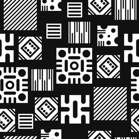 A modern black and white multi squares seamless pattern Çizim