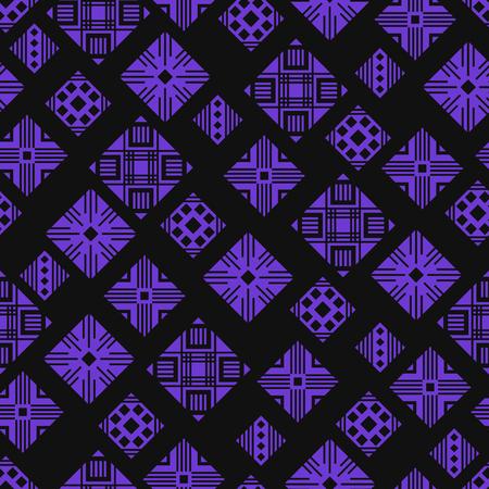 Modern black and violet multi squares seamless pattern. Illustration