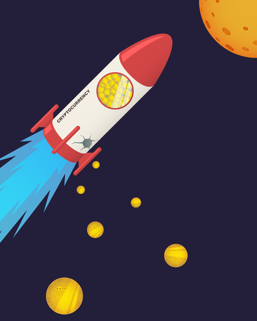 cryptocurrency coin falling down from rocket hole Illustration