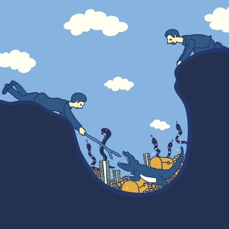 businessman taking risk for treasure Illustration