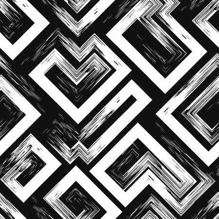 contemporary black and white painting multi lines brush style seamless pattern