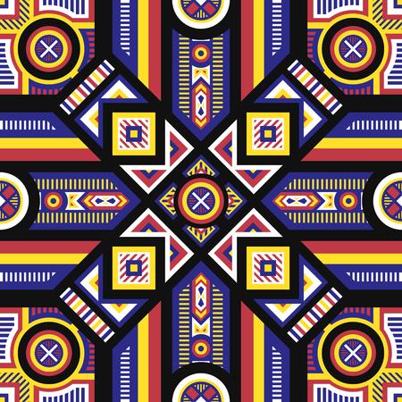 블랙에 추상 현대 현대 4 색 기하학적 패턴