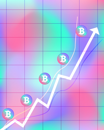vector colorful bitcoin uptrend graph gradient background for brochure banner or publication