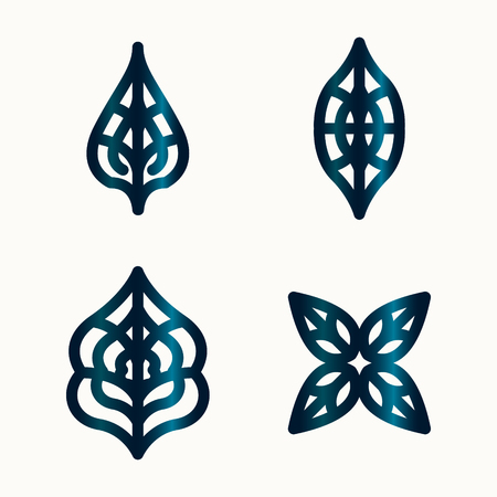 vector geometric leaves wireframe logo or icon collection for brochure banner or publication Illustration